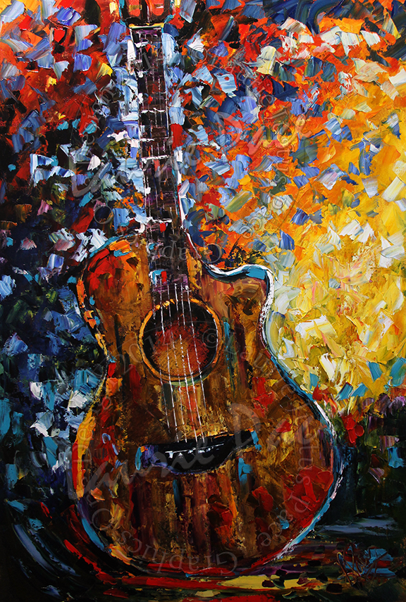 Guitar And Soul - Palette Knife Oil Painting On Canvas By