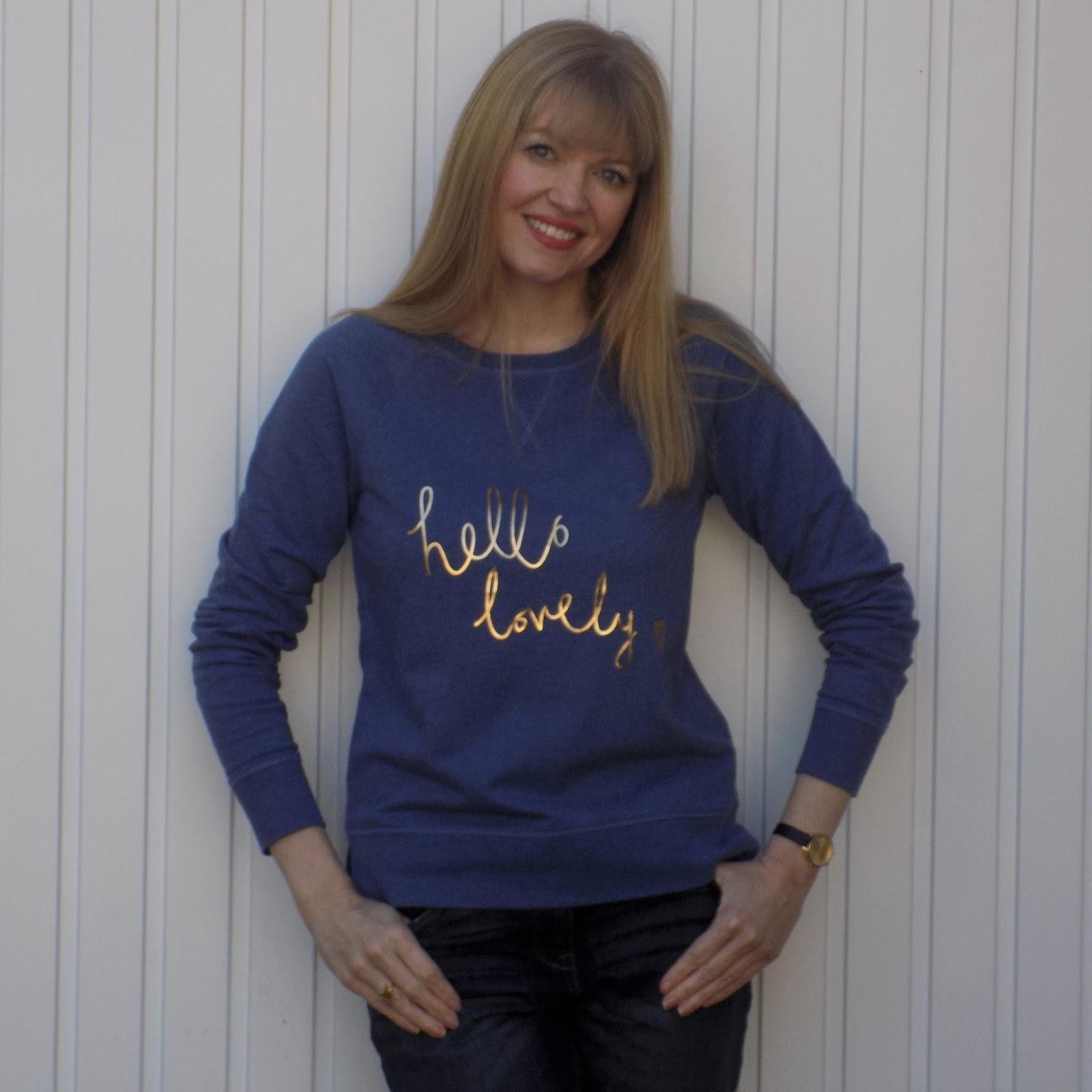 Boden Hello Lovely slogan sweatshirt