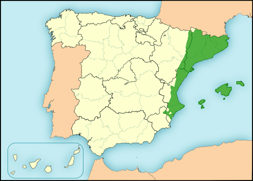 Catalan language in Spain map