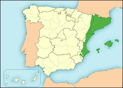 Catalan language in Spain map