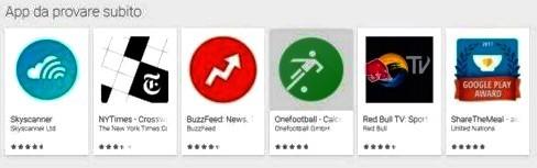 """Nuova funzione sul Google Play Store; il pulsante """"Instant App"""", permette di provare un'applicazione prima di installarla."""