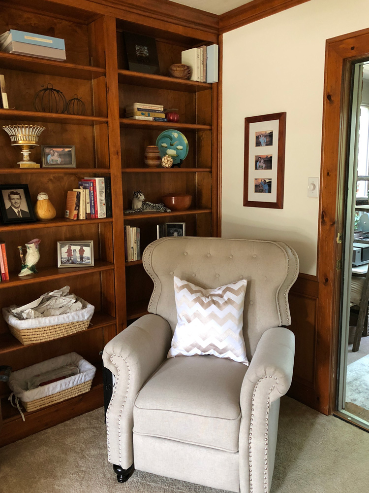 club chair with built in shelves