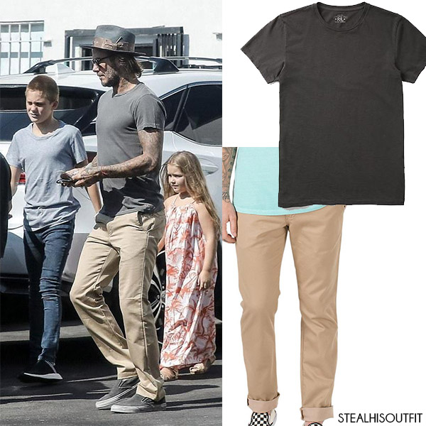 David Beckham in grey t-shirt and khaki pants vans celebrity fashion august 2017