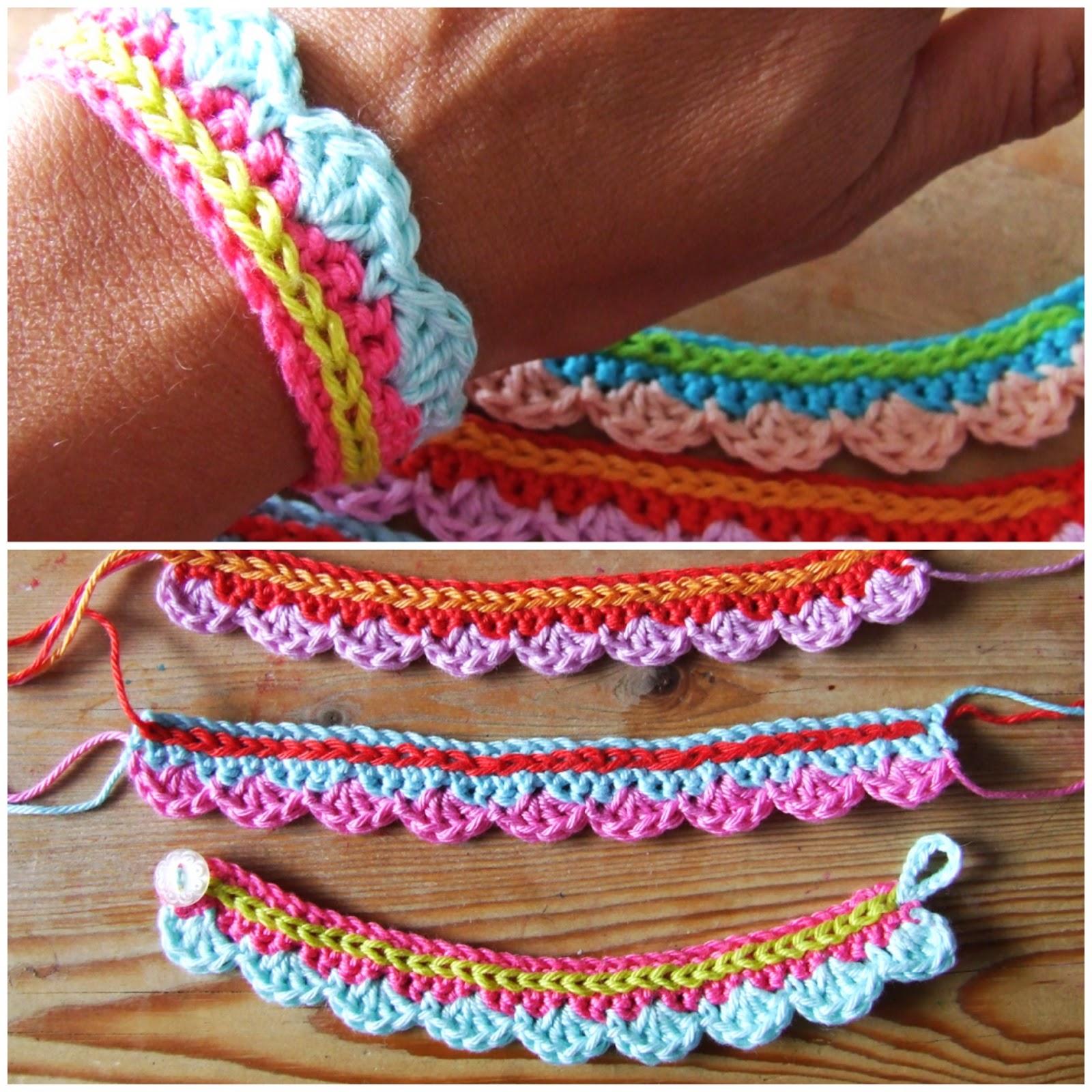 Tutorial pulsera de crochet con volantes patrones crochet - Mantas de ganchillo faciles ...