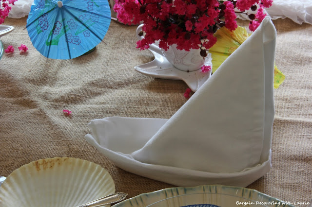 Napkins in Sailboat fold-Bargain Decorating with Laurie