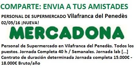 Lanzadera de Empleo Virtual Barcelona, Oferta Mercadona Villafranca del Penedès