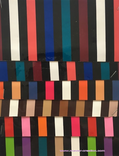 color spacing striped leather