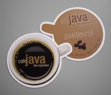 1. Kartu nama keren berbentuk cangkir kopi