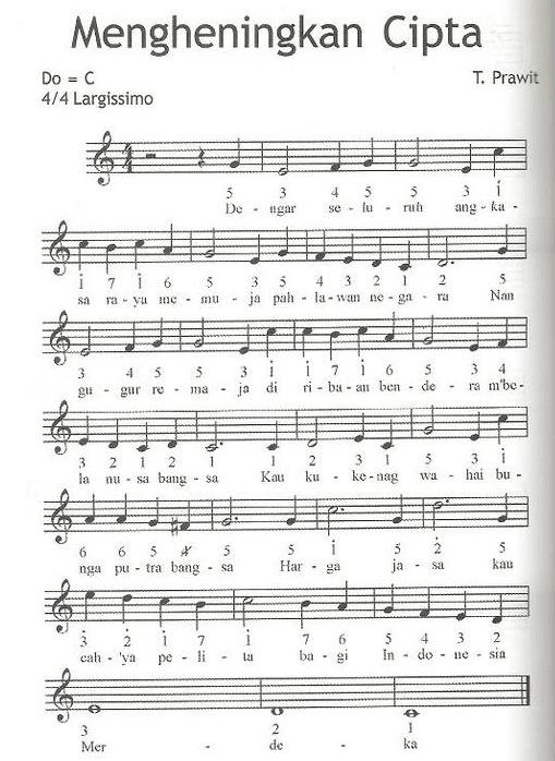 Not Angka Pianika Lagu Mengheningkan Cipta - T. Prawit