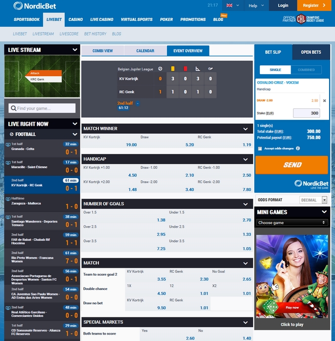 Nordicbet Live Betting Screen