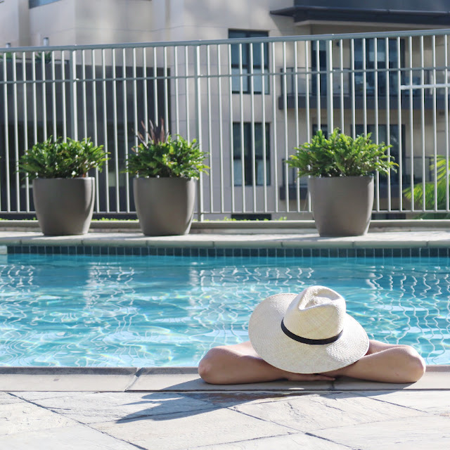 staycation ideas, girls' pool day ideas, poolside hats