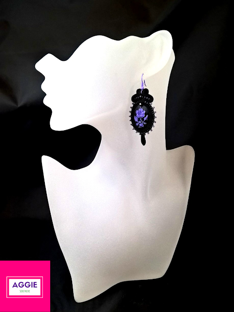 gothic style black violet soutache earrings