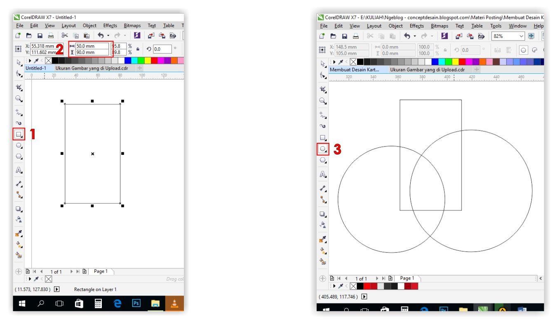 Concept Desain Kartu Nama 2 Sisi Laminasi Doff Atau Glossy Selanjunya Mengguankan Ellipse Tool 3 Buat Dua Buah Lingkaran Seperti Gambar Dibawah Sambil Tekan Tombol Ctrl Untuk Membuat Sempurna