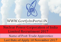 Nuclear Power Corporation of India Limited Recruitment 2017 – 60 Trade Apprentice