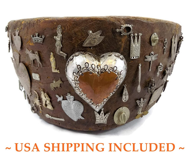Antique Wooden Memory Bowl Covered With Charms Milagros and Mementos