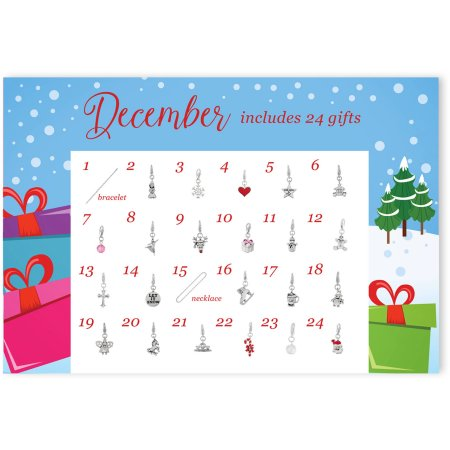 Walmart Girls Christmas Advent Calendar Jewelry Charm Collection