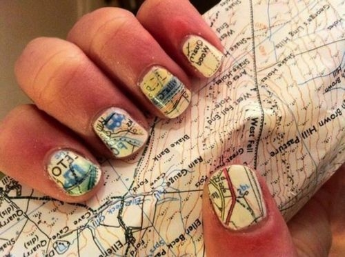 Go around the world nail art ideas inspired by the travaholics map nail art is a must for travel freaks cover those little canvases with colorful maps of places you are about to visit you can buy nail wraps if drawing prinsesfo Images