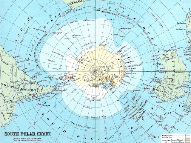 a 1920s Antarctic map in color, unexplored