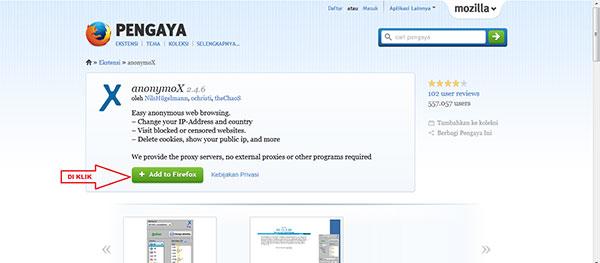 Anonymox untuk Add On Mozilla Firefox