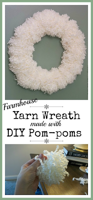 Vintage, Paint and more... a gorgeous yarn wreath made with diy'd yarn pom-poms that can easily be used in any decor and transitions from Thanksgiving to Spring