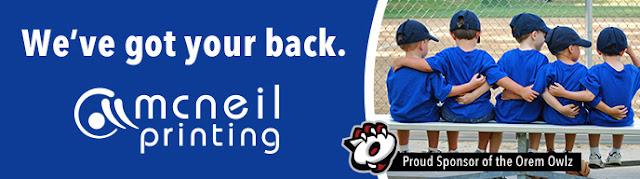 We've got your back -Sponsors of the Orem Owlz Baseball