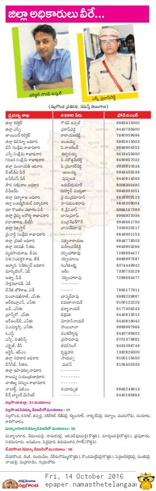 Nalgonda District Govt Officers Mobile Phone Landline No's List Download Telangana State