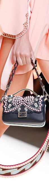Brilliant Luxury  ♦Fendi Kan I Studded Bows Top-Handle Shoulder Bag #blue