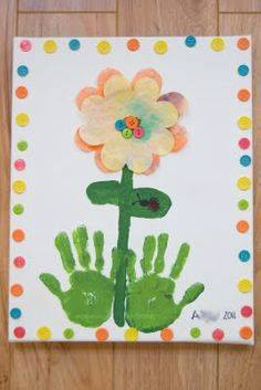 Idea to draw flowers using handprint for kids 7