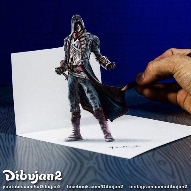 01-Arno-Dorian-Assassin-s-Creed-Miguel-Brito-3D-Illusions-with-Drawings-and-Illustration-www-designstack-co