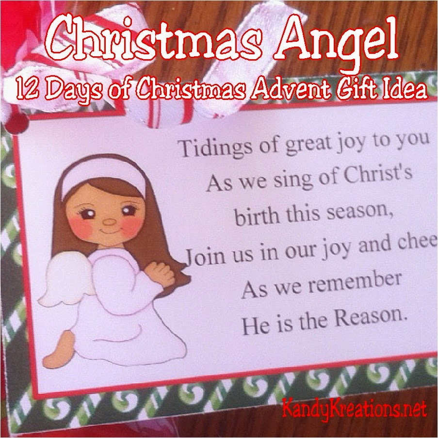 Tidings of great joy to you this Christmas season as you count down to Christmas day with this Nativity Advent Calendar gift idea. Day one features Almond joy candies and the Christmas angel bring tidings of great joy.