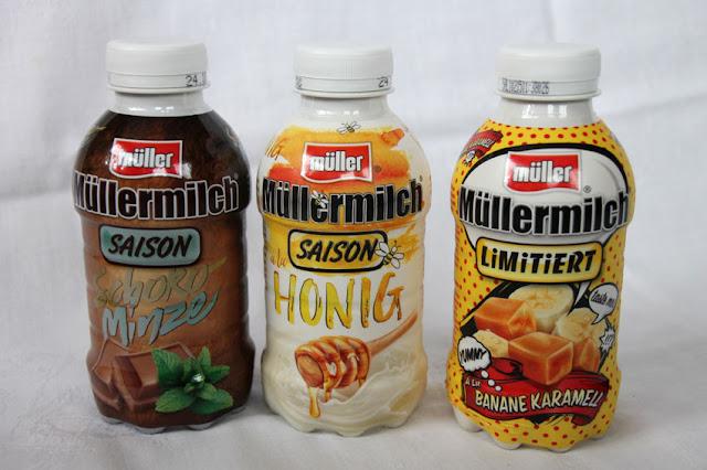 Drei verschiedene limitierte Sorten der Saison der Müllermilch
