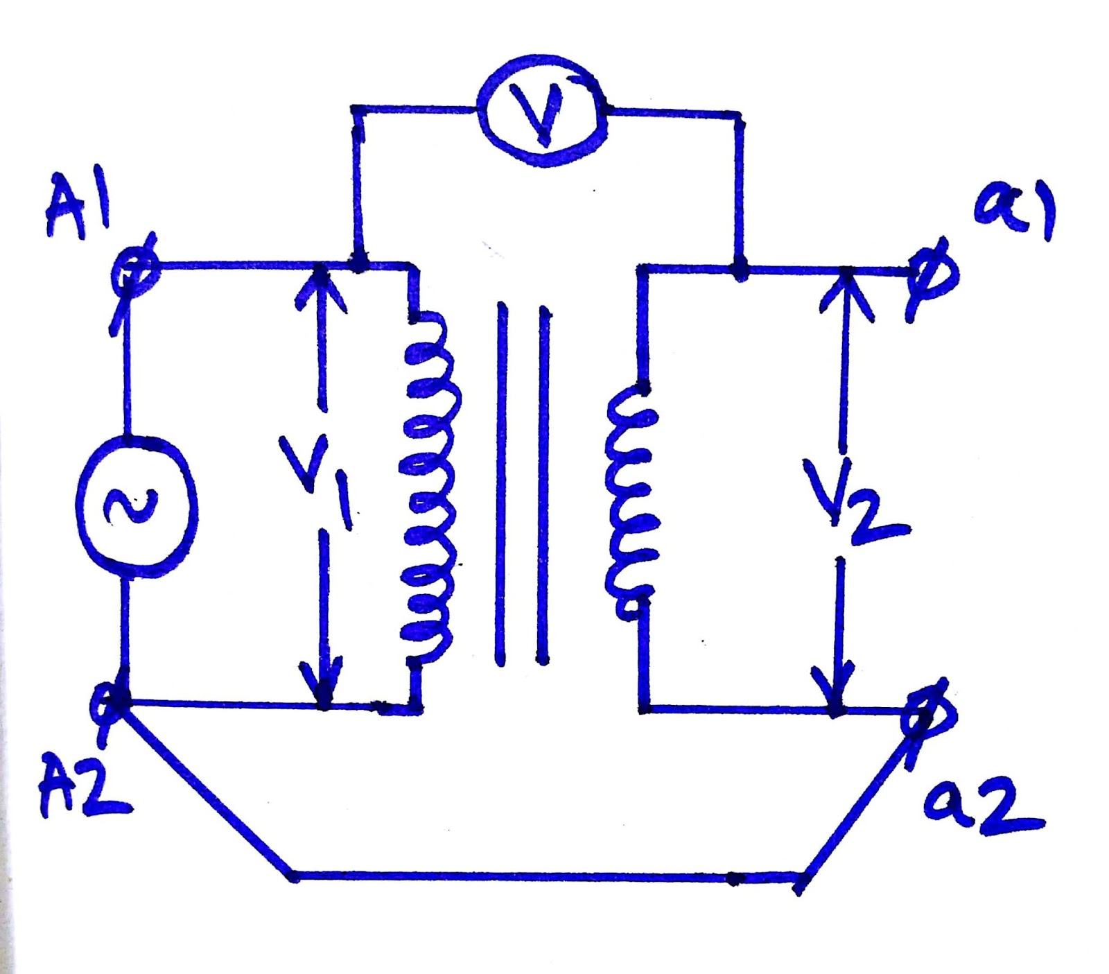 fig 1 circuit diagram of transformer polarity test https electricaltechnologyrishi blogspot com [ 1600 x 1405 Pixel ]