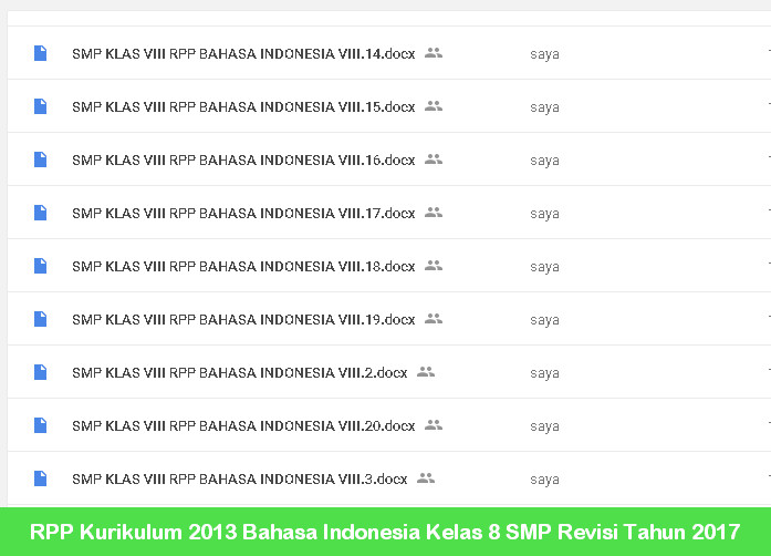 RPP Kurikulum 2013 Bahasa Indonesia Kelas 8 SMP Revisi Tahun 2017