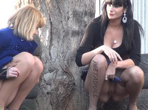 Girls peeing in public Carpark with hidden camera 02