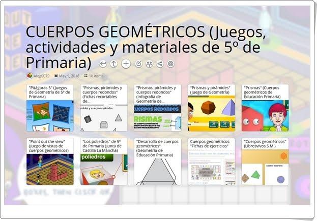 10 juegos, actividades y materiales para el estudio de los CUERPOS GEOMÉTRICOS en 5º de Primaria