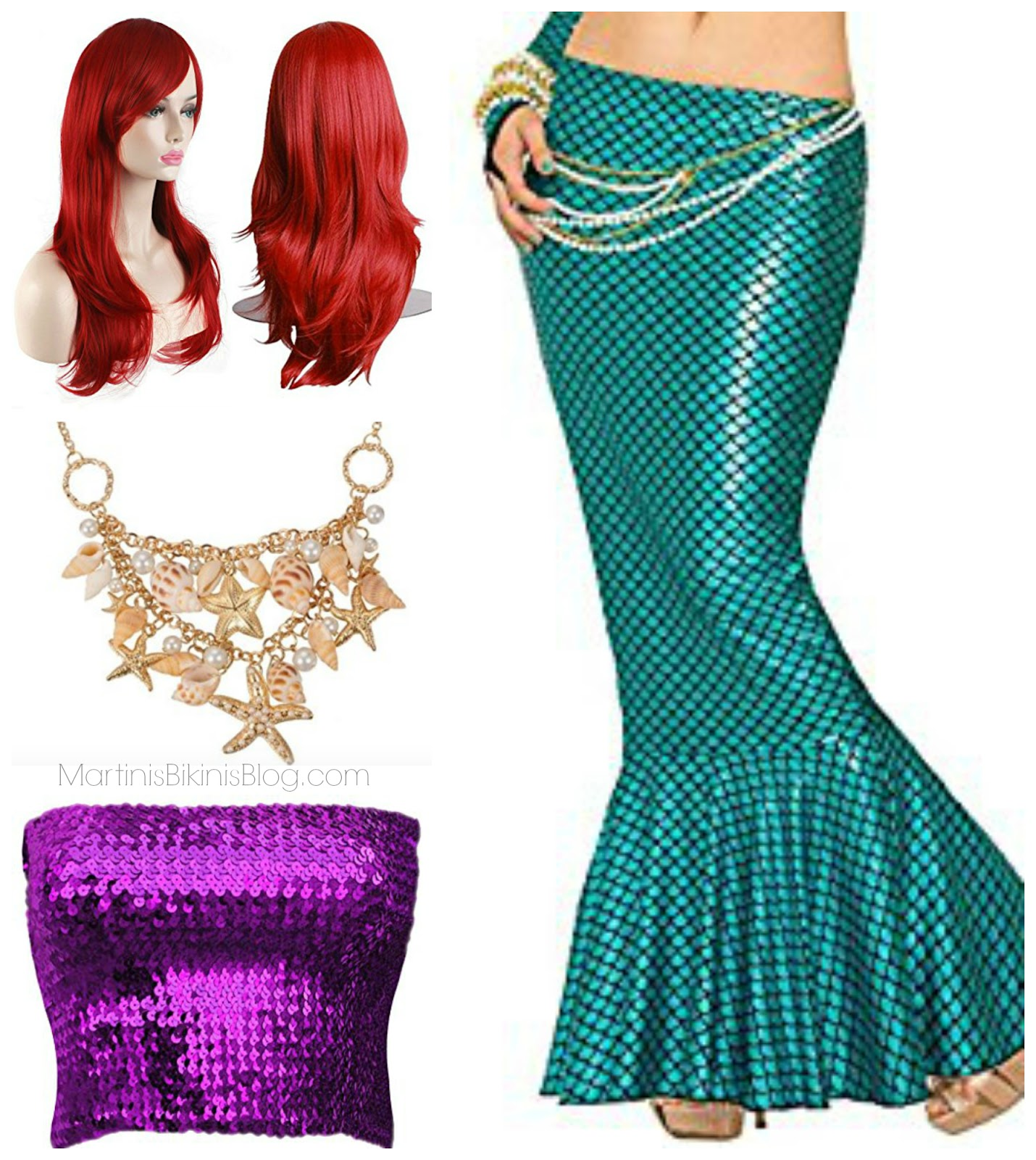 Itu0027s been many years since I purchased a Halloween costume but this year I decided to be a little festive and pull together a mermaid costume with Disneyu0027s ...  sc 1 st  Martinis | Bikinis & Mermaid Halloween Costume u0026 Colorful Mermaid Wigs - Martinis | Bikinis