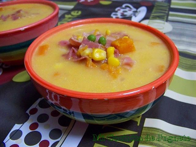 Sopa de Calabaza, Maíz y Guisantes