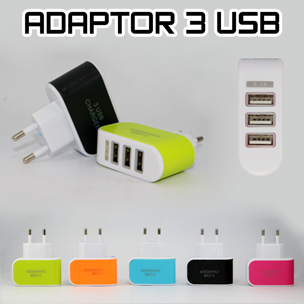 Adaptor Batok Charger 3 USB 3.1A