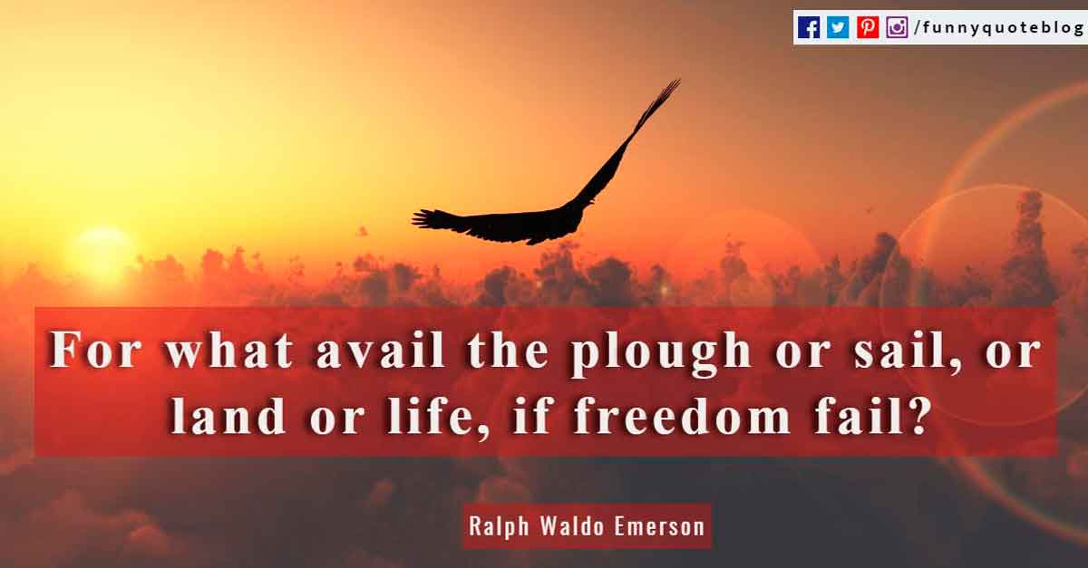 For what avail the plough or sail, or land or life, if freedom fail? ~ Ralph Waldo Emerson Quote