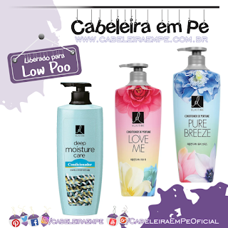 Condicionadores Elastine (Low Poo) - Deep Moisture Care, Perfume Pure Breeze e Perfume Love Me