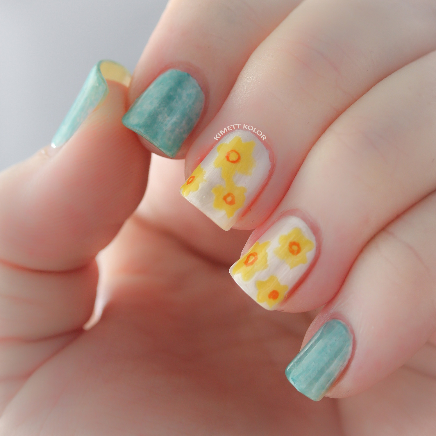 Aquamarine and Daffodil March Nail Art by KimettKolor