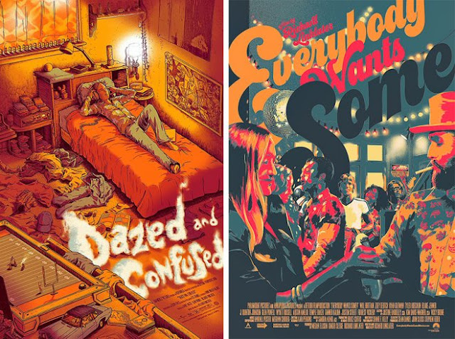 Reimagined Posters, Dazed and Confused, Everybody Wants Some, Richard Linklater, Mondo Gallery's show No Longer/Not Yet