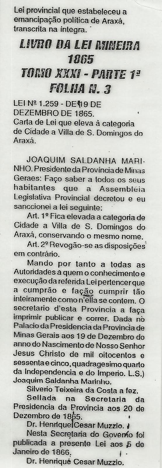 Lei provincial que estabeleceu a emancipação política de Araxá