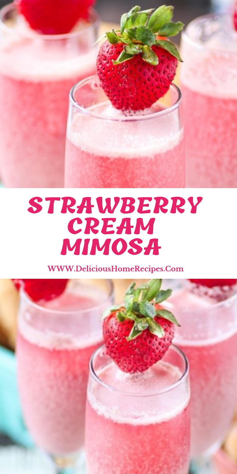 Strawberry Cream Mimosa #christmas #drink
