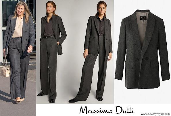 Queen Maxima wore Massimo Dutti herringbone blazer
