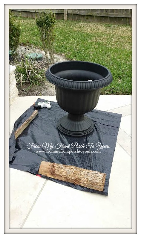 From My Front Porch To Yours- Plastic Urns Painted Using Mineral/Chalk Based Paint