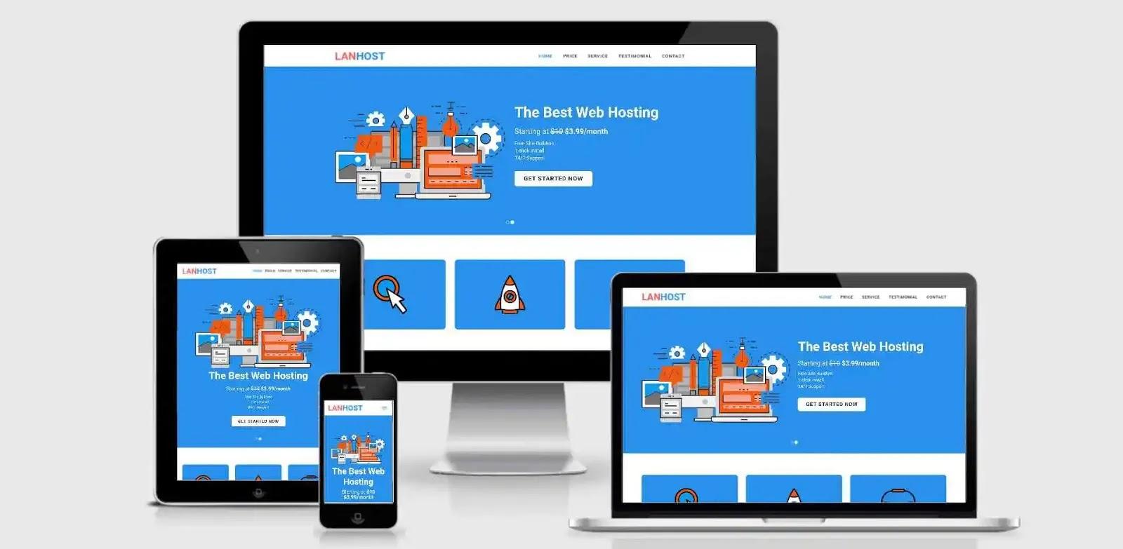 Giao Diện Website Blogspot LanHost Landing Page Giới Thiệu Công Ty