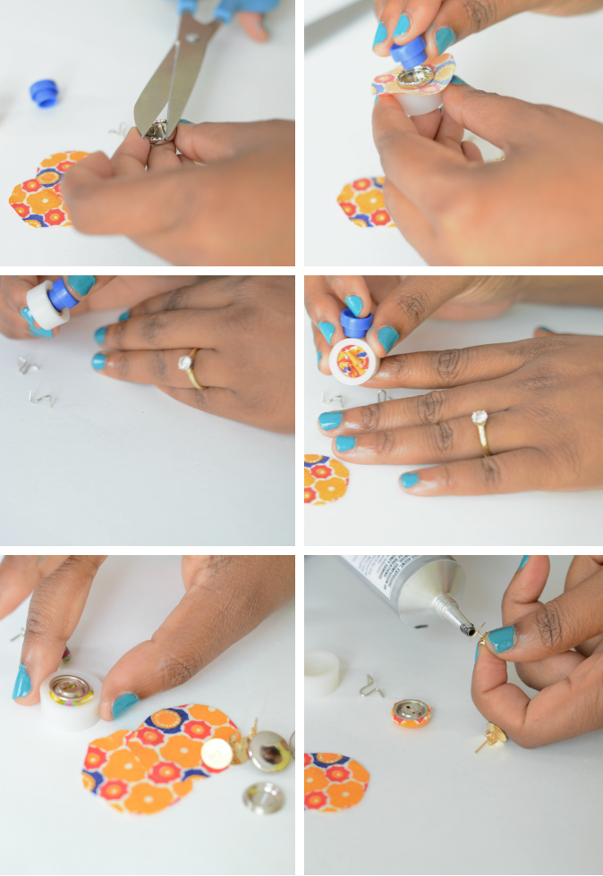 african print fabric earrings tutorial