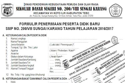 Download Contoh Formulir Penerimaan Siswa Baru Sd Smp Smk Tahun 2016