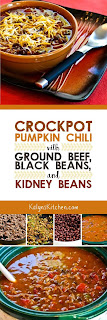 Crockpot Pumpkin Chili with Ground Beef, Black Beans, and Kidney Beans found on KalynsKitchen.com